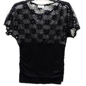 Love J Lace Ruched Dolman Sleeve Top sz L